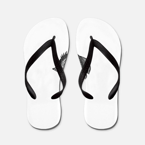 Black and white Exotic Fish Flip Flops