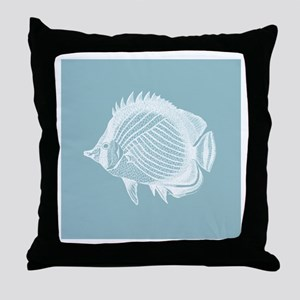 Pastel Blue Exotic Fish Throw Pillow