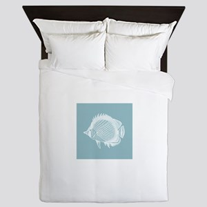 Pastel Blue Exotic Fish Queen Duvet