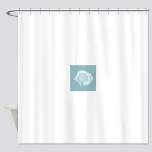Pastel Blue Exotic Fish Shower Curtain
