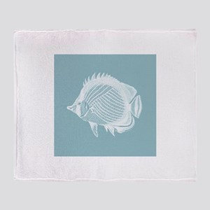 Pastel Blue Exotic Fish Throw Blanket