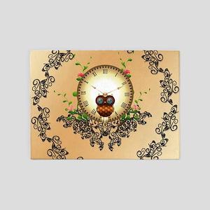 Steampunk, cute owl 5'x7'Area Rug
