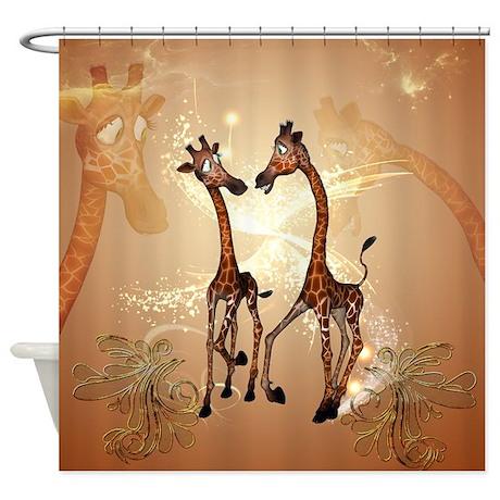 Funny Cartoon Giraffe Shower Curtain