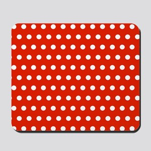 Red and White Polka Dots Mousepad