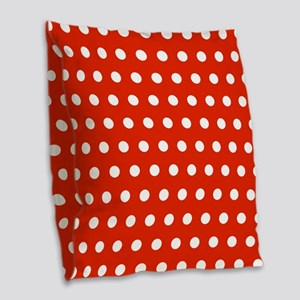 Red and White Polka Dots Burlap Throw Pillow