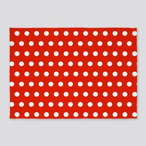Red and White Polka Dots 5'x7'Area Rug