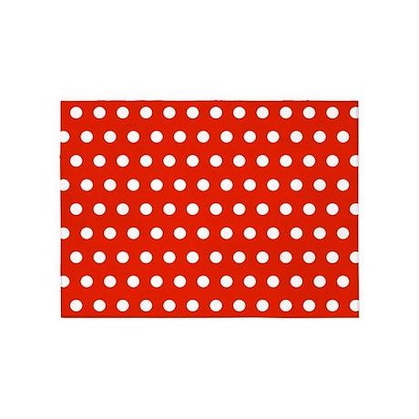 Red And White Polka Dots 5u0027x7u0027Area Rug