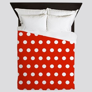 Red and White Polka Dots Queen Duvet