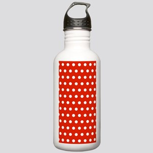 Red and White Polka Dots Sports Water Bottle