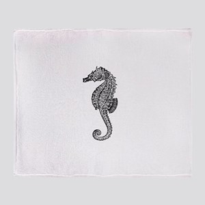 Vintage Seahorse illustration Throw Blanket