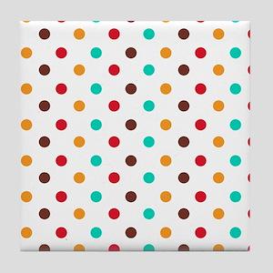Multi Color Polka Dots Tile Coaster