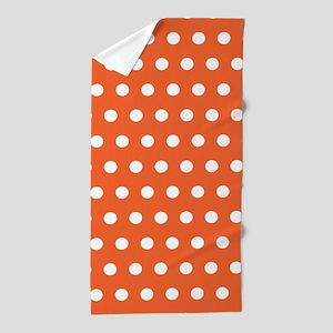 Orange And White Polka Dots Beach Towel