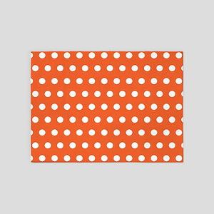 Orange And White Polka Dots 5'x7'Area Rug
