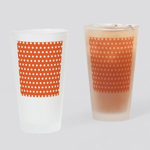 Orange And White Polka Dots Drinking Glass