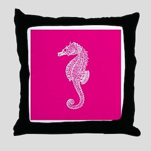Hot Pink Seahorse Throw Pillow
