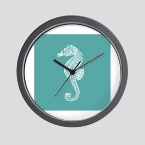 Turquoise Seahorse Wall Clock
