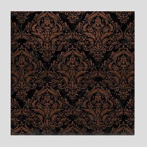 DAMASK1 BLACK MARBLE & DULL BROWN LEA Tile Coaster
