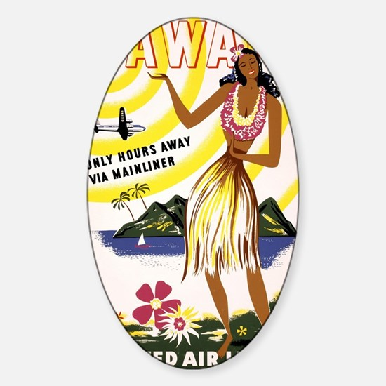 Hawaii Vintage Travel Poster Restor Sticker (Oval)