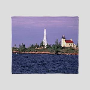 Copper Harbor Lighthouse Throw Blanket