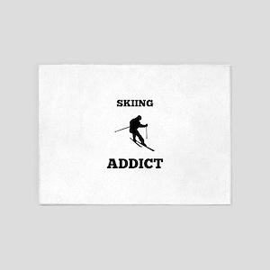 Skiing Addict 5'x7'Area Rug