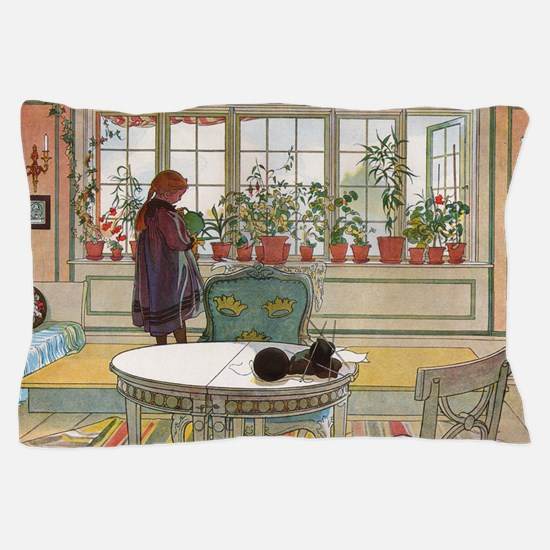 Flowers on the windowsill, Illusration Pillow Case
