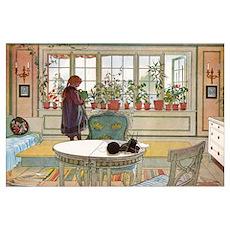 Flowers on the windowsill, Illusration by Carl Lar Poster