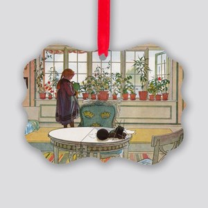 Flowers on the windowsill, Illusr Picture Ornament