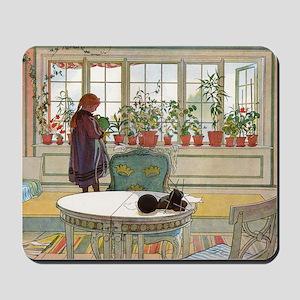 Flowers on the windowsill, Illusration b Mousepad