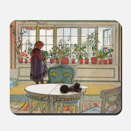 Flowers on the windowsill, Illusration b Mousepad