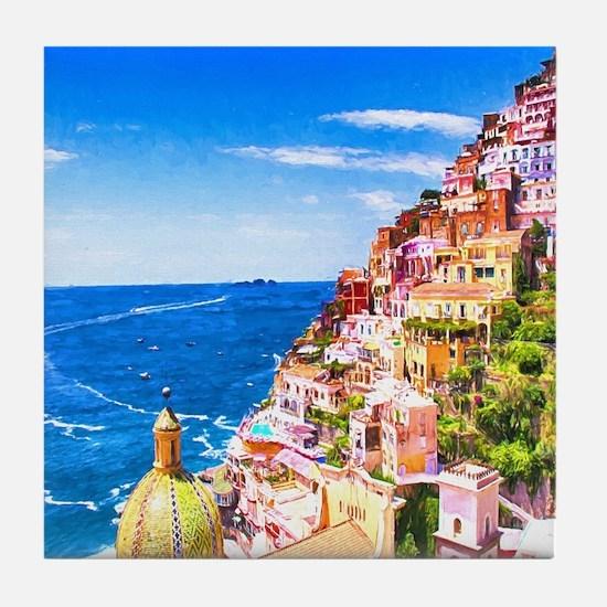 Digital Painting Of Positano Italy Tile Coaster