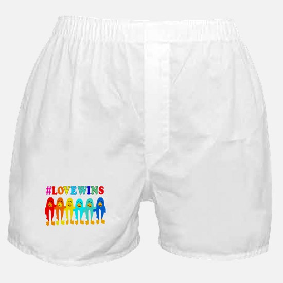 Love Wins Rainbow Penguins. Boxer Shorts