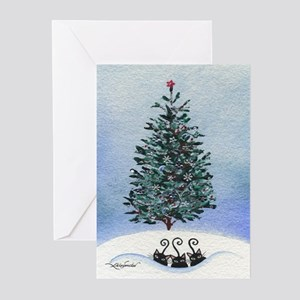 Christmas Tree Stray Cats Greeting Cards