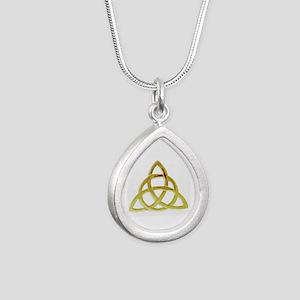 Triquetra, Charmed, Book Silver Teardrop Necklace