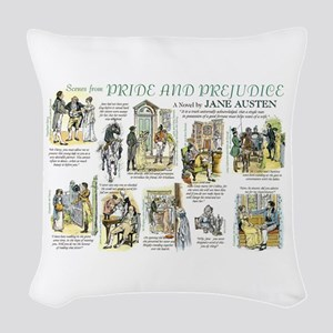 Scenes from Pride and Prejudic Woven Throw Pillow
