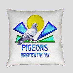 Pigeons Brighten the Day Everyday Pillow