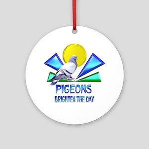Pigeons Brighten the Day Ornament (Round)