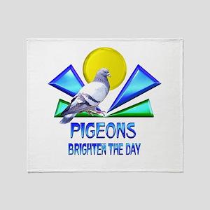Pigeons Brighten the Day Throw Blanket