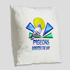 Pigeons Brighten the Day Burlap Throw Pillow