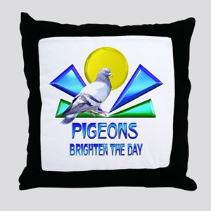 Pigeons Brighten the Day Throw Pillow