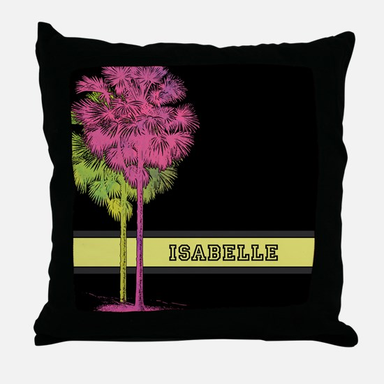 Pink Green Watercolor Palm Trees Throw Pillow
