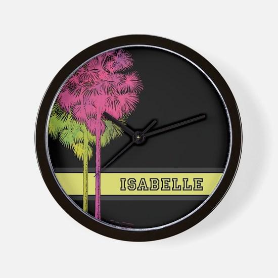 Pink Green Watercolor Palm Trees Wall Clock