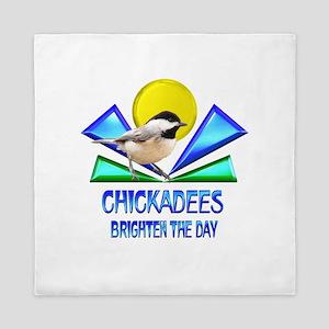 Chickadees Brighten the Day Queen Duvet