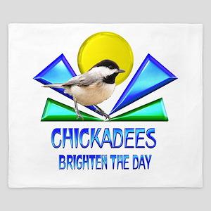 Chickadees Brighten the Day King Duvet