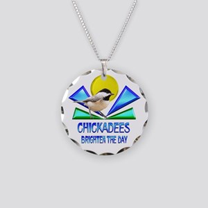 Chickadees Brighten the Day Necklace Circle Charm