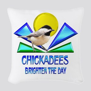 Chickadees Brighten the Day Woven Throw Pillow
