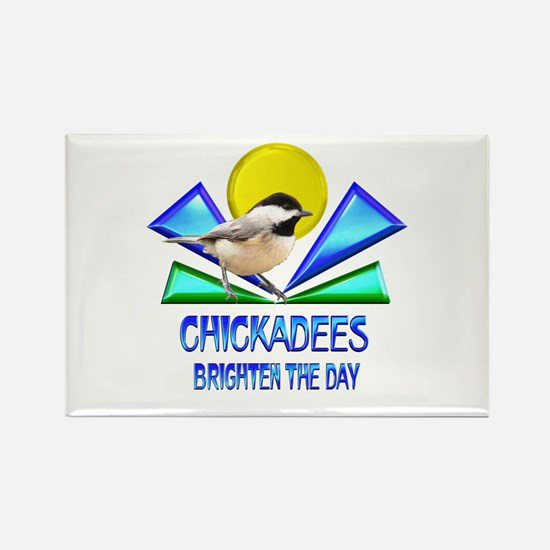 Chickadees Brighten the Day Rectangle Magnet