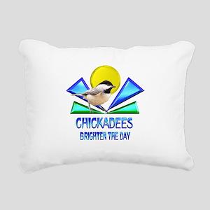 Chickadees Brighten the Rectangular Canvas Pillow