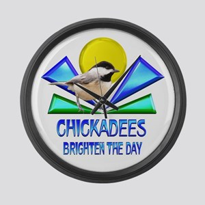 Chickadees Brighten the Day Large Wall Clock