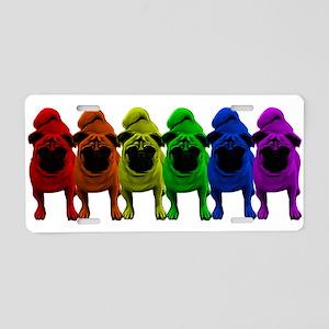 Rainbow Pride Pugs Aluminum License Plate