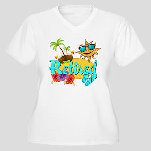 Retired Beach Women's Plus Size V-Neck T-Shirt
